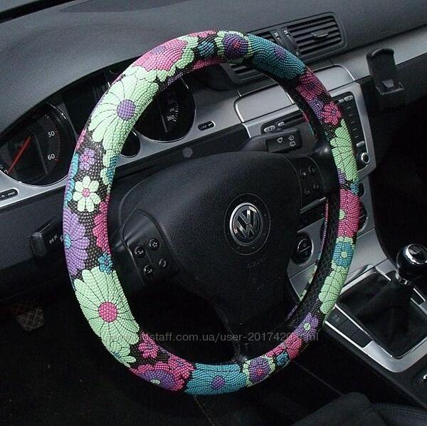 Женский чехол на руль автомобиля, оплетка на руль