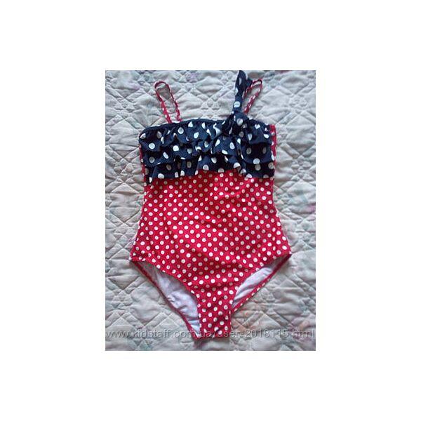Суперкий купальник на девочку красный в белый горошек с оборочками