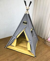 Вигвам, типи, шалаш, игровая палатка детская коврик 2 подушки в подарок