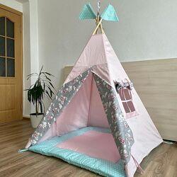 Вигвам, типи, шалаш, игровая палатка детская коврик. 2 подушки в подарок