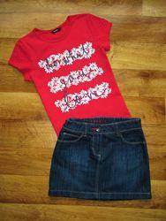 Комплект next футболка george и юбка esprit, рост 128-140 см, девочке 8-10