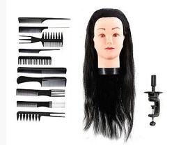 Манекен парикмахерский с искусственными волосами 50 см. штатив 10 расчесок