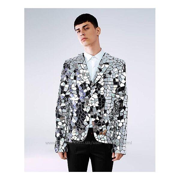 Зеркальный серебряная пиджак для шоу
