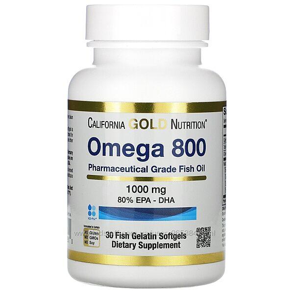 Омега 800 Рыбий жир California Gold Nutrition, 30 и 90 капсул