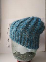 Зимняя теплая шапка цвет морской волны 52-55 размер
