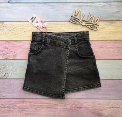 Джинсова спідниця-шорти для дівчат, стильні шорти, розміри 116-170