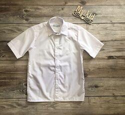 Сорочка з коротким рукавом, шведка, рубашка біла на кнопках. розміри 122-16